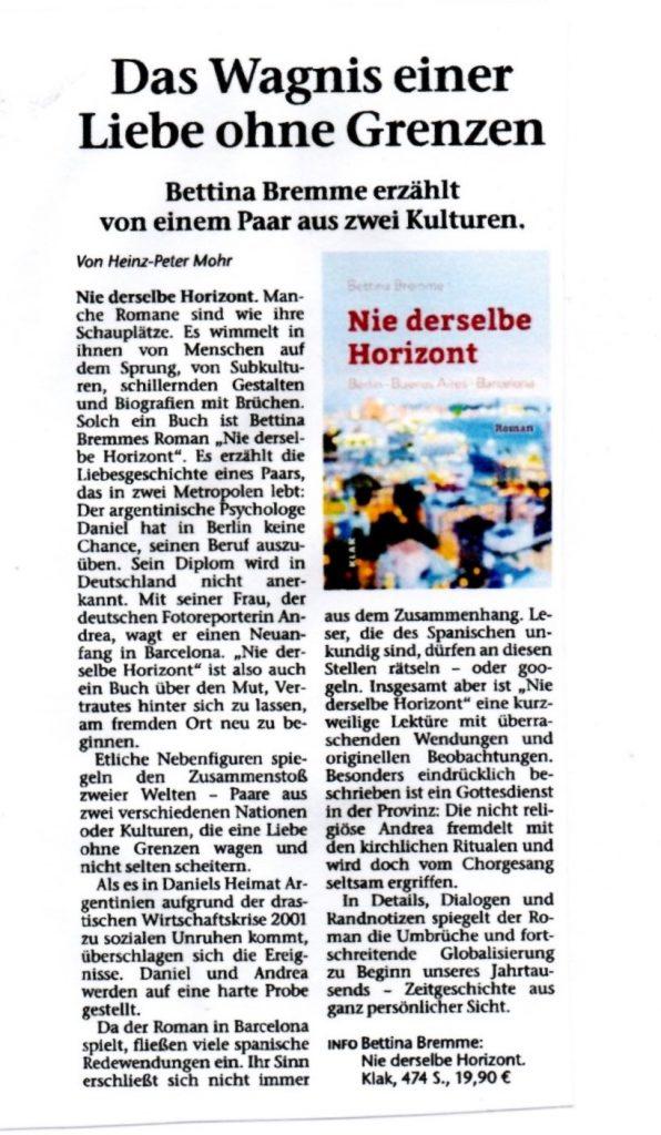 Rezension Nie derselbe Horizont Marler und Recklinghäuser Zeitung Scan